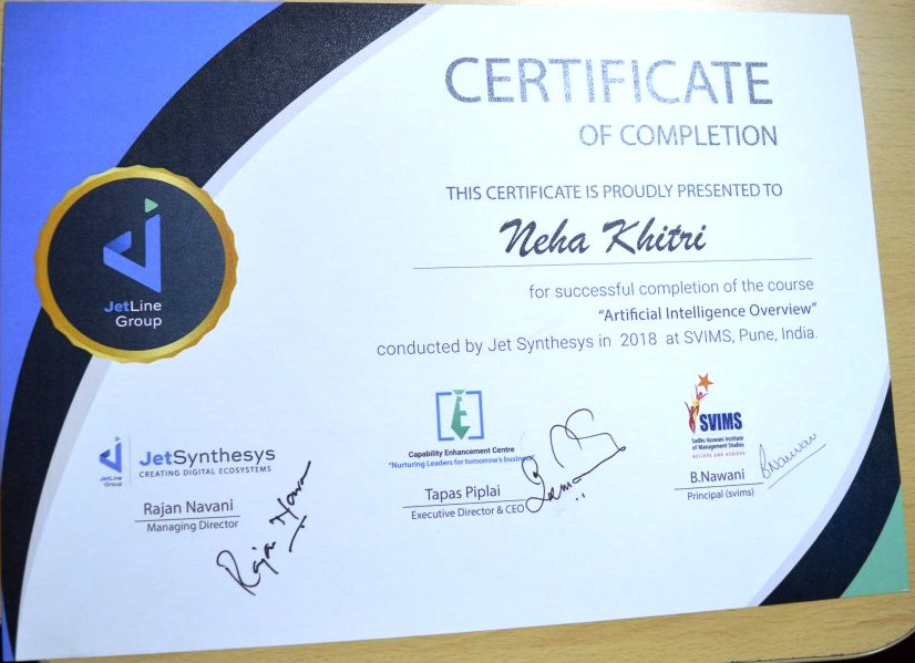 artificial intelligence course certificate distribution